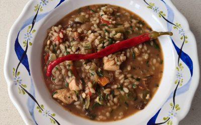 Arroz caldoso de verduras con pollo